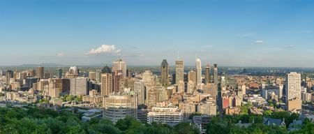 lookout: Montreal city skyline panorama from Mont-Royal lookout Stock Photo