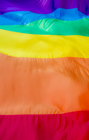 Close up of a giant rainbow flag