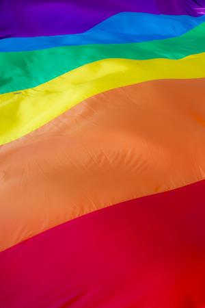 Close up of a giant rainbow flag