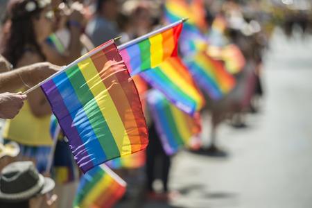 2015 년 몬트리올 프라이드 3 월 중 레인보우 게이 플래그를 들고있는 게이 프라이드 관중 스톡 콘텐츠