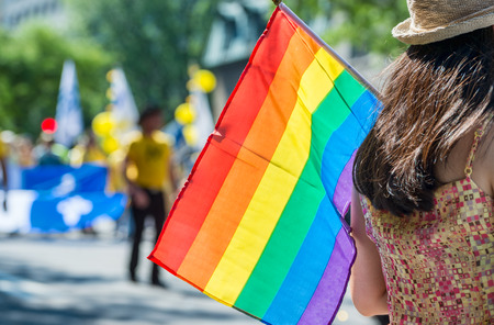 spectator: A female spectator is holding the gay rainbow flag at the 2015 Gay Pride Parade in Montreal.