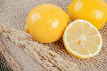 faded: Lemon on Burlap fabric (Vintage faded filter)