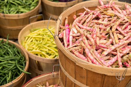 Different types of beans at the market : cranberry beans, green beans and butter beans Stock Photo