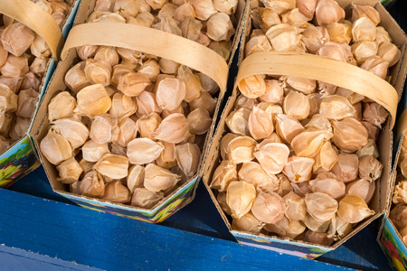 ground cherry: Physalis ground cherry fruits at the market