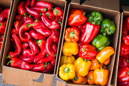 Bell peppers and Hot Portugal peppers at the market