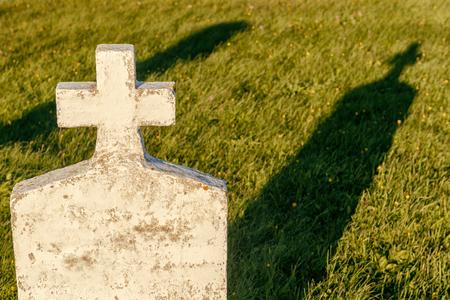 headstone: Blank headstone in a cemetery Stock Photo
