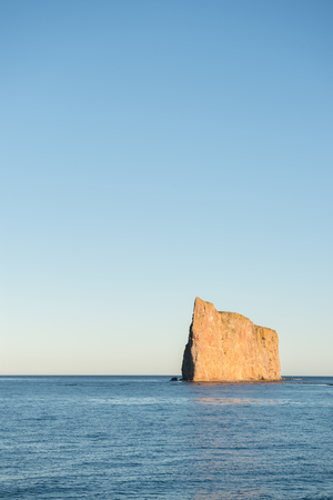 Side view of Perce Rock, Perce, Gaspe, Peninsula, Quebec, Canada