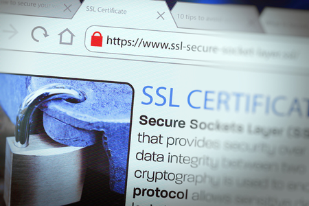 Close-up of a browser window showing lock icon during SSL connection Stockfoto