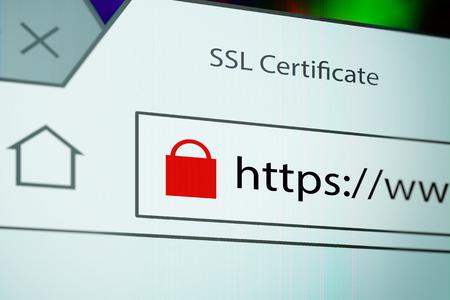 SSL 接続中のブラウザー ウィンドウ表示のロック アイコンのクローズ アップ