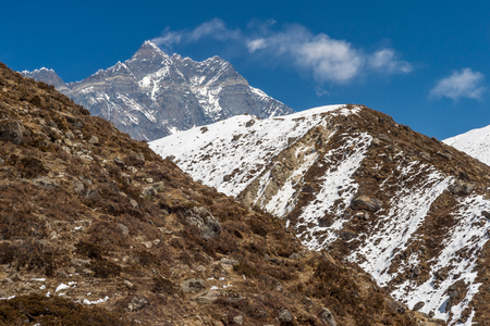 Lothse and Lothse Shar peaks in the Himalayan Range, in Nepal Stock Photo