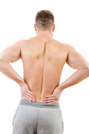 hernia: Concept picture of a man with lower back pain