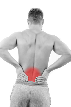 Man with back pain over white background