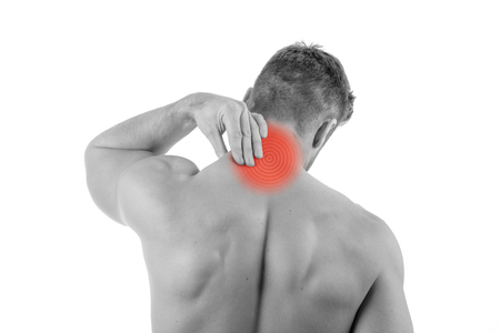 Man with neck pain over white background