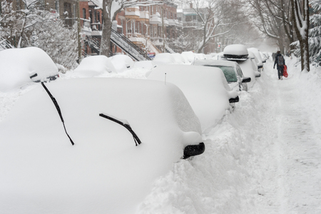 Montreal, CA - 15 March 2017: Powerful snow storm Stella pounds Montreal and leaves up to 60cm of snow.