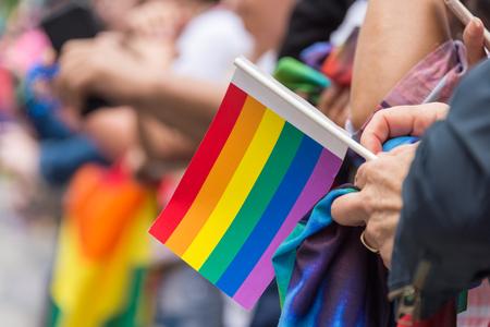 2017 년 토론토 프라이드 퍼레이드 중 작은 무지개 깃발을 들고 퍼레이드 관중