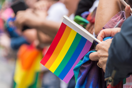 canadian flag: Parade spectator holding small  rainbow flag during Toronto Pride Parade in 2017 Stock Photo