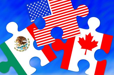 캐나다, 멕시코 및 미국 국기 조각, Nafta 계약에 대한 개념적 이미지 스톡 콘텐츠