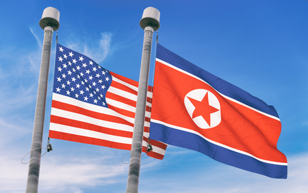 North Korea and USA flags over blue sky background (3D rendered illustration)