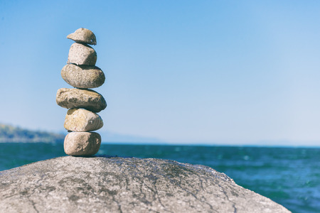 Rock balancing in Vancouver stone stacking garden