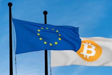 European flag and Bitcoin Flag waving over blue sky (digitally generated image)
