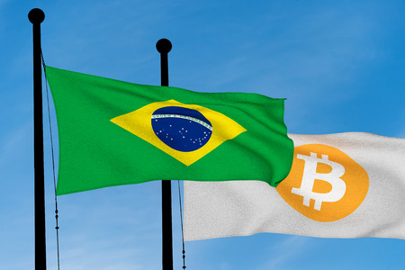 Brazil flag and Bitcoin Flag waving over blue sky (digitally generated image) Stock fotó