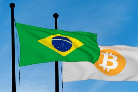 Brazil flag and Bitcoin Flag waving over blue sky (digitally generated image) Banco de Imagens