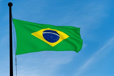 Brazil Flag waving over blue sky (digitally generated image)