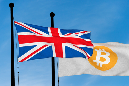 UK flag and Bitcoin Flag waving over blue sky (digitally generated image)