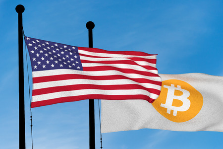 US flag and Bitcoin Flag waving over blue sky (digitally generated image)