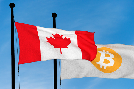 Canada flag and Bitcoin Flag waving over blue sky (digitally generated image) Reklamní fotografie