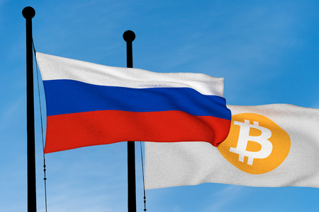 Russia flag and Bitcoin Flag waving over blue sky (digitally generated image) Reklamní fotografie
