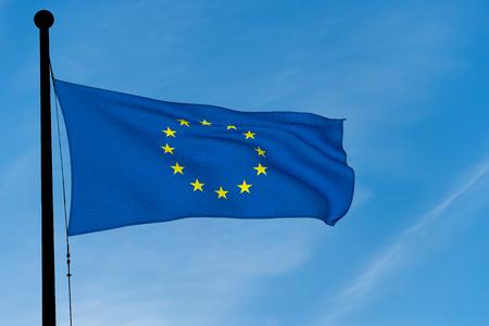 Europe Flag waving over blue sky (digitally generated image)
