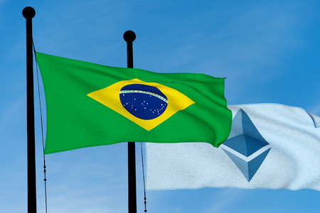 Brazil Flag and Ethereum Flag waving over blue sky (digitally generated image) Reklamní fotografie
