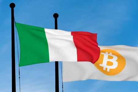 Italian flag and Bitcoin Flag waving over blue sky (3D rendering) Reklamní fotografie