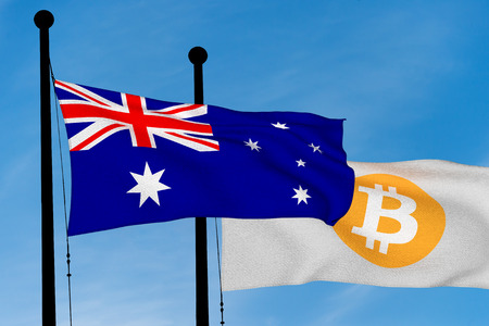 Australian flag and Bitcoin Flag waving over blue sky (3D rendering) Reklamní fotografie