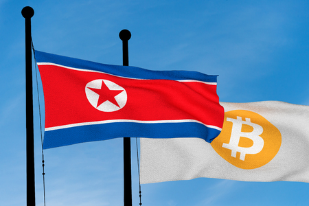 North Korean flag and Bitcoin Flag waving over blue sky (3D rendering)