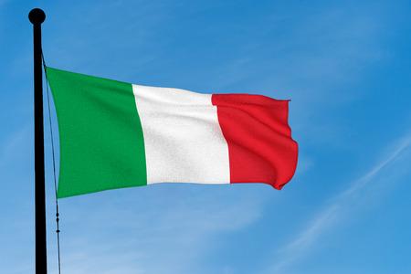 Italian Flag waving over blue sky (3D rendering)