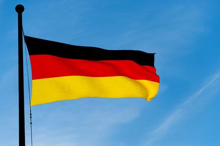 German Flag waving over blue sky (3D rendering)