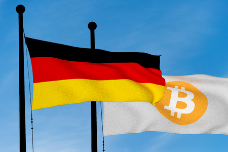 German flag and Bitcoin Flag waving over blue sky (3D rendering)