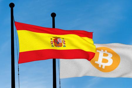 Spanish flag and Bitcoin Flag waving over blue sky (3D rendering) Reklamní fotografie