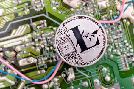 Circuit board and cryptocurrency Litecoin coin