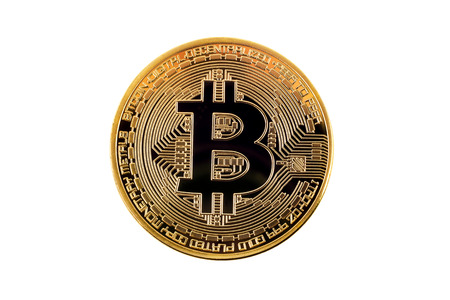 Bitcoin cryptocurrency golden coin isolated over white background Reklamní fotografie