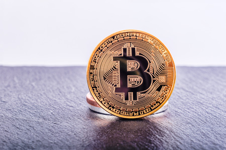 Bitcoin cryptocurrency golden coin