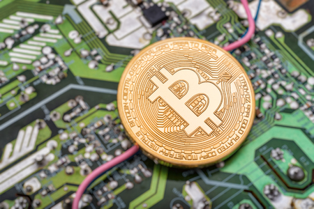 Circuit board and cryptocurrency Bitcoin coin