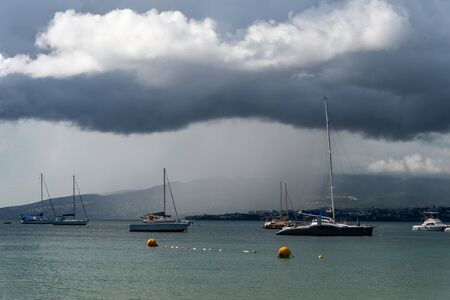 Heavy rain over Fort-De-France and Montagne Pellee Volcano in Martinique, France (2019)