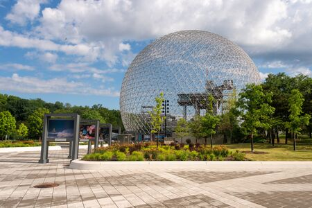 Montreal, Canada - 21 July 2019: Biosphere and newly renovated walkway in Parc Jean Drapeau