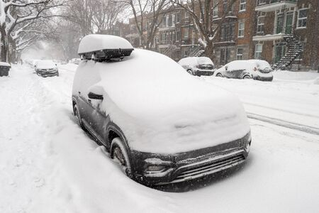 Cars covered with snow during snow storm in Montreal, Canada (2019)