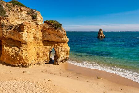 Empty beach at Praia do Camilo, Lagos, Portugal