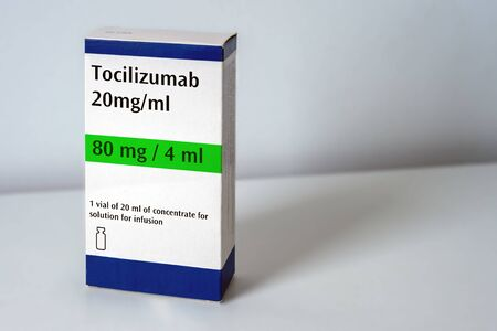 Artistic rendering of a box of Tocilizumab concentrate.