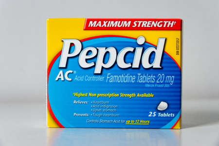 Montreal, CA - 27 April 2020: Box of Pepcid AC antacid over-the-counter medicine